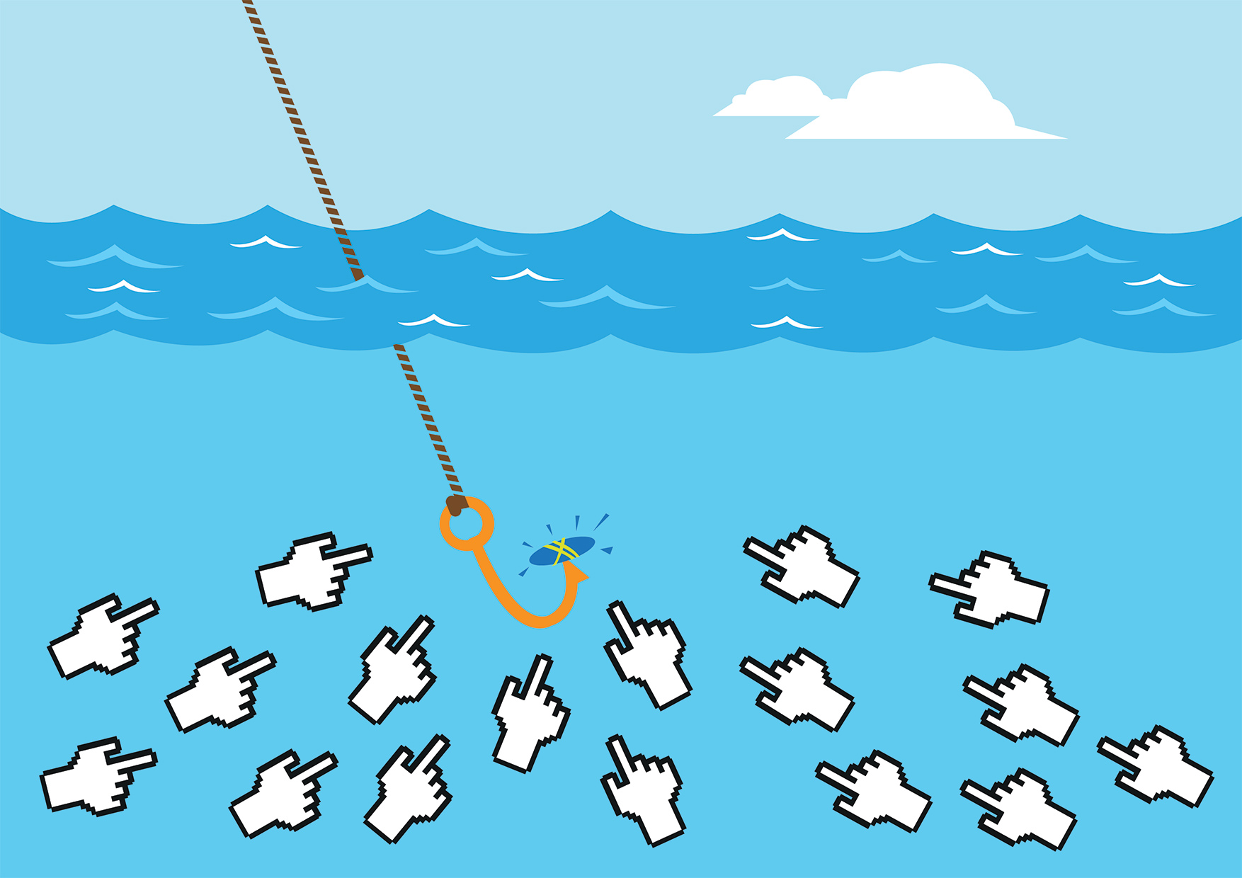Depicting clickbait content. Fishing hook drawing mouse cursors.