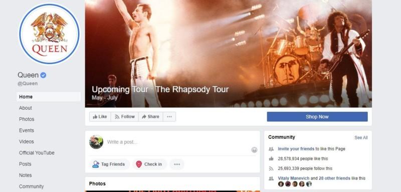 Queen Facebook Page
