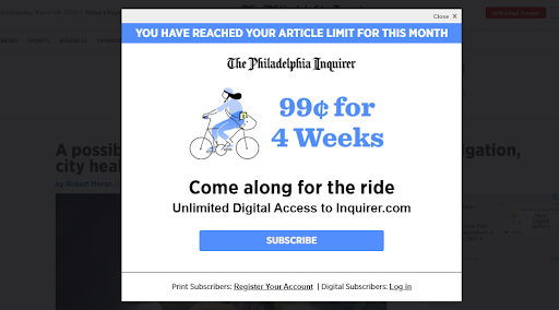 Metered paywall as way to increase subscription revenue
