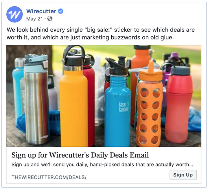Wirecutter generate revenue with affiliate links on their site and newsletter.