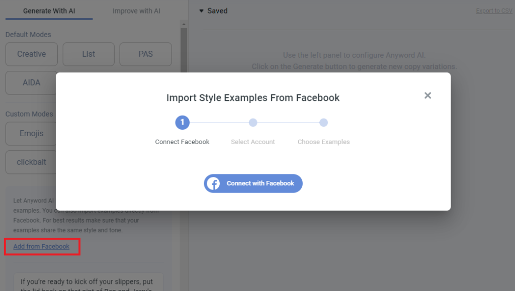 import style examples from Facebook